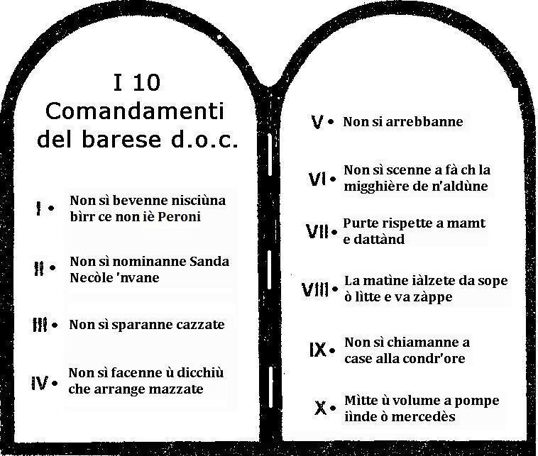 I 10 comandamenti del barese d o c camin vattin - Tavole dei dieci comandamenti ...