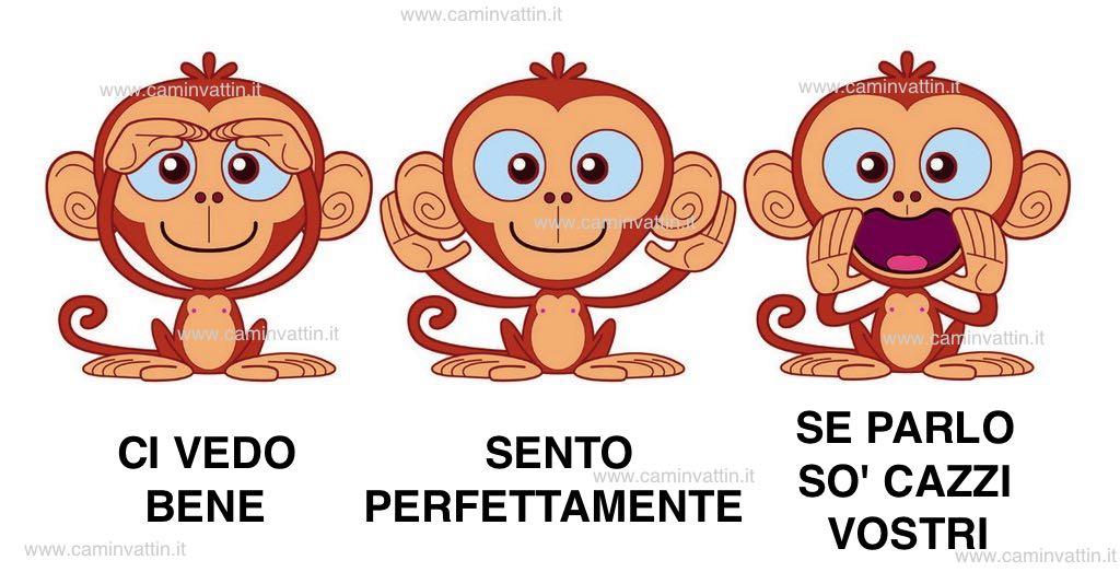 tre scimmiette vedo sento parlo
