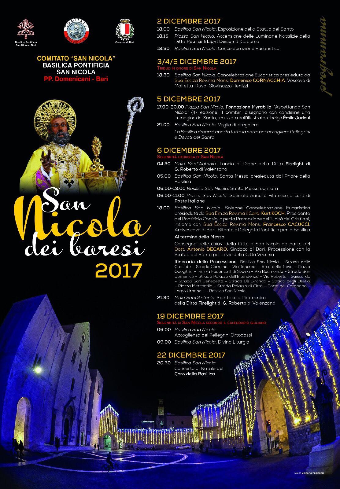 San Nicola Calendario.Festa Di San Nicola Di Bari 2017 Il Programma Completo
