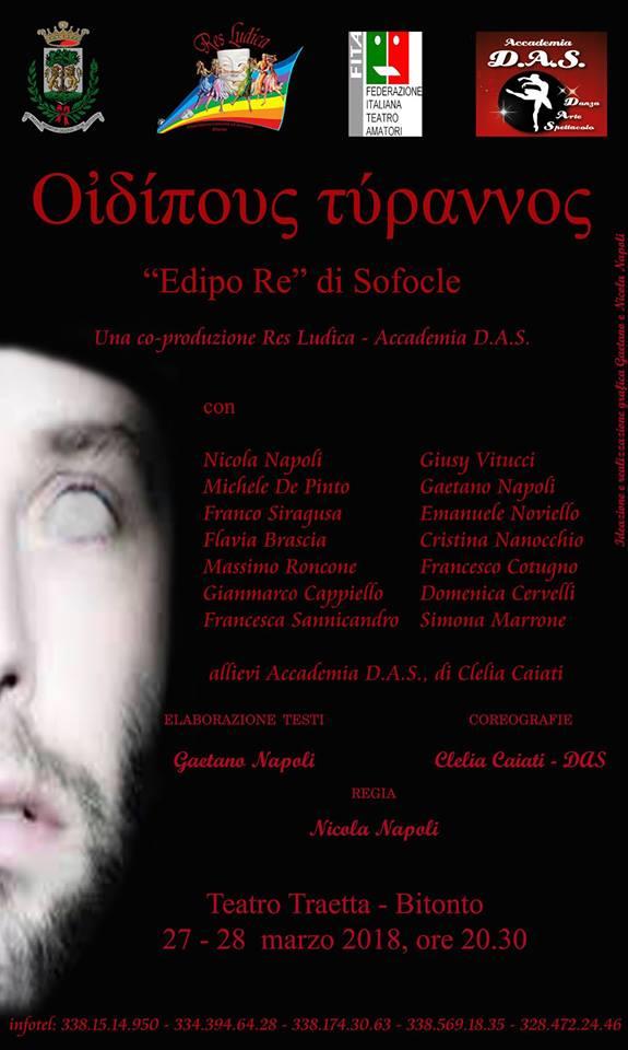 edipo re di sofocle res ludica accademia das teatro traetta
