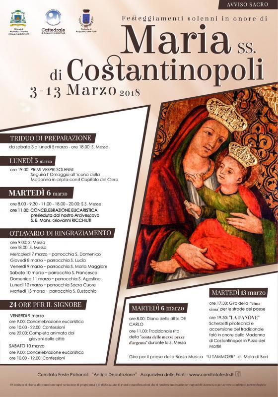 festa patronale maria di costantinopoli 2018 acquaviva delle fonti bari