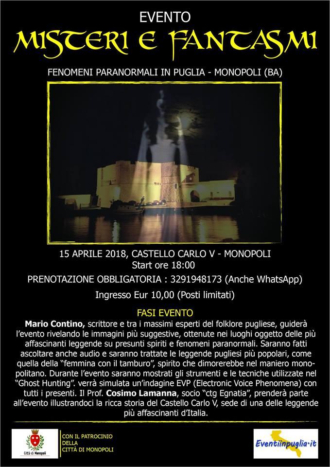 misteri e fantasmi fenomeni paranormali in puglia castello monopoli