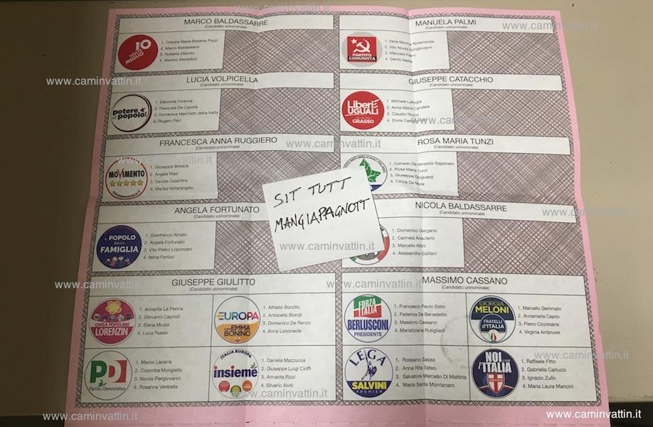 scheda elettorale votazioni politiche