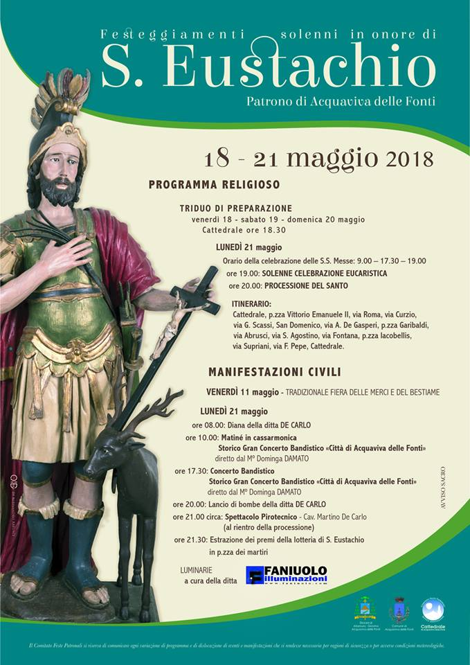 Festa di sant 39 eustacchio ad acquaviva delle fonti il for Monolocale arredato acquaviva delle fonti