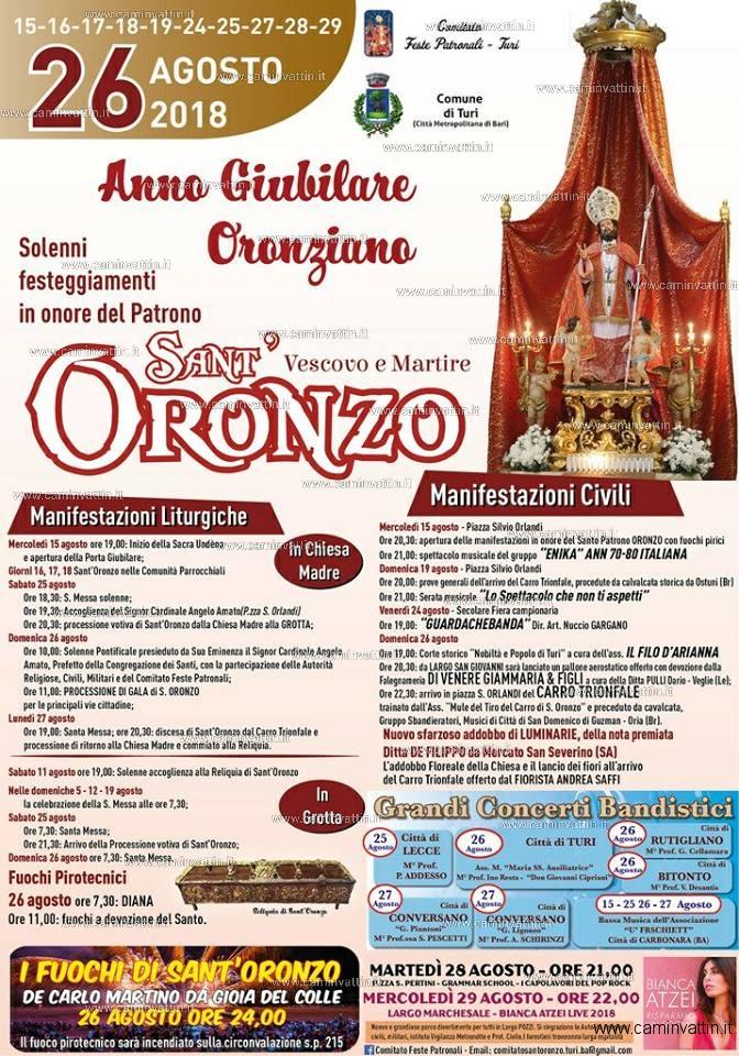 Calendario Feste Patronali Puglia.Festa Di Sant Oronzo A Turi Il Programma Degli Eventi