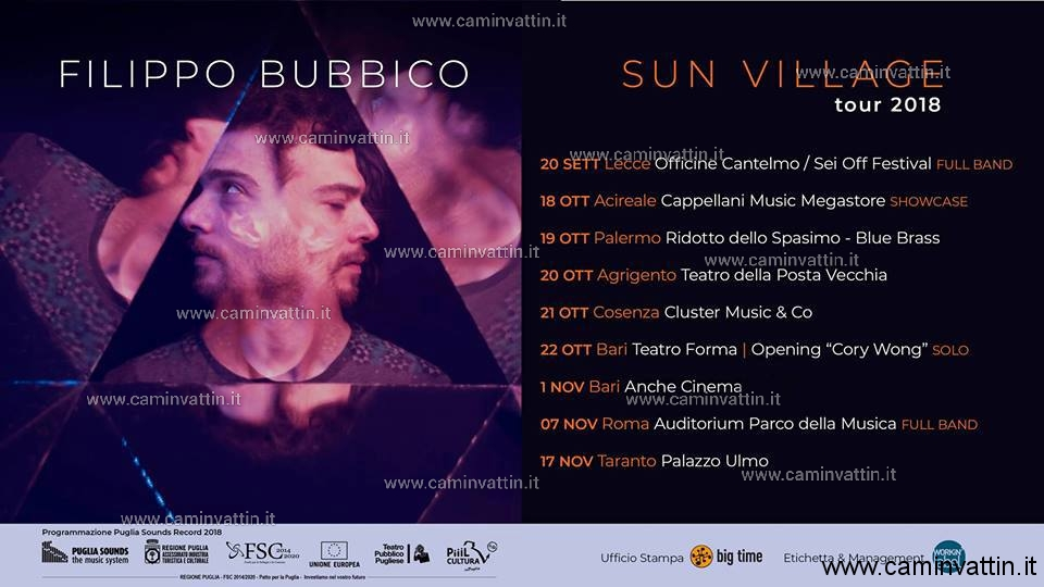 filippo bubbico sun village tour 2018 bari