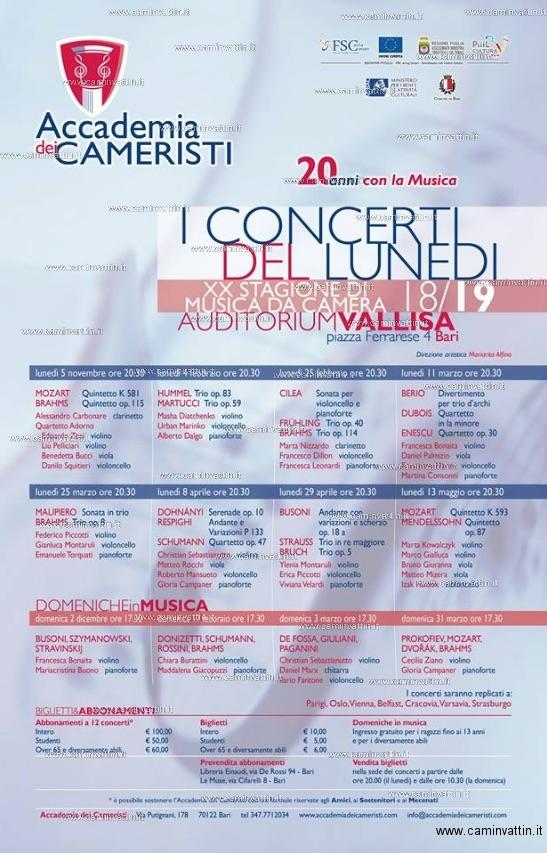 i concerti del lunedi accademia dei cameristi 2018 2019