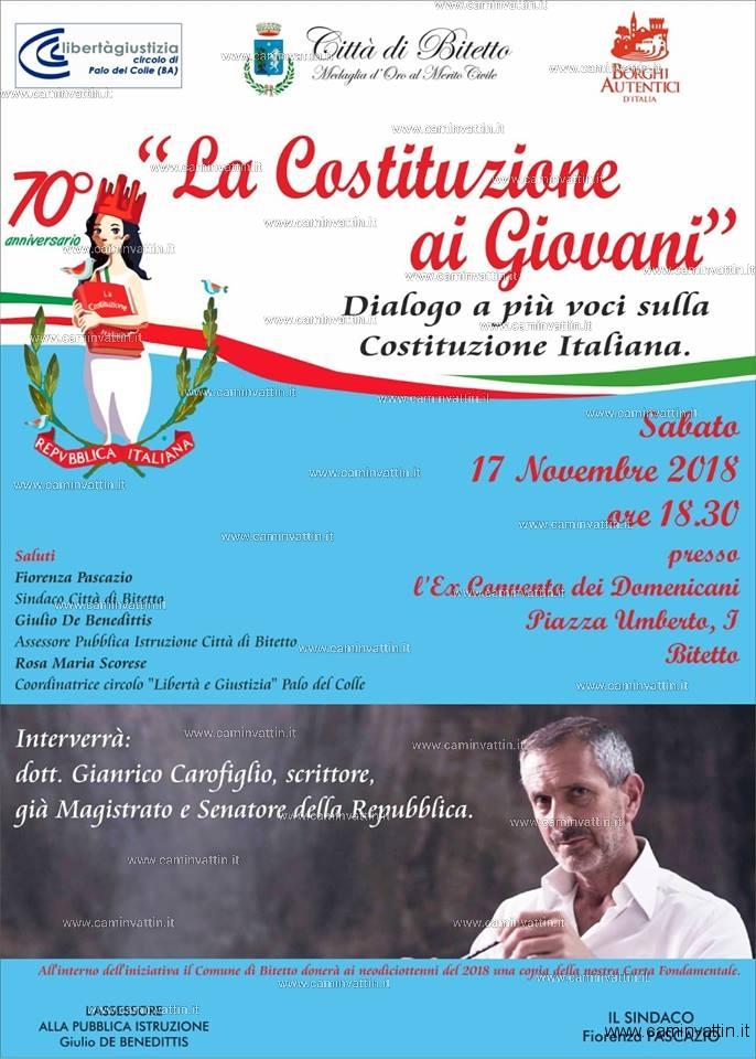 Gianrico Carofiglio a Bitetto La costituzione ai giovani