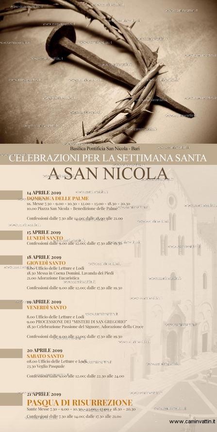 Celebrazioni per la Settimana Santa a San Nicola