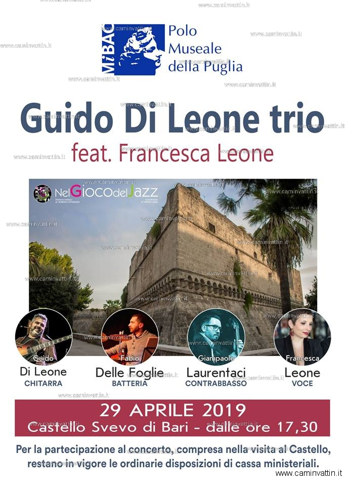 Guido Di Leone Trio Castello Svevo Bari Giornata Internazionale del Jazz 2019