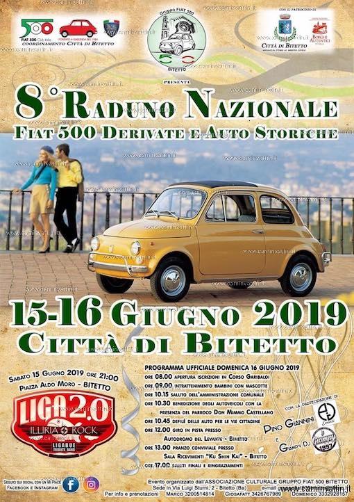 Raduno Nazionale Fiat 500 Derivate e Auto Storiche a Bitetto 2019