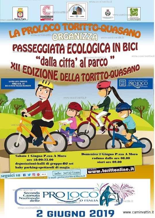 Toritto Quasano Passeggiata ecologica in bici dalla citta al parco