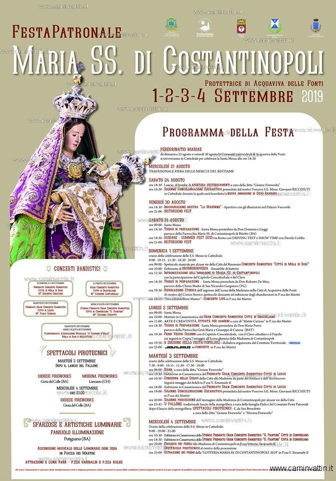 Calendario Feste Patronali Puglia.Acquaviva Delle Fonti Festa Patronale Di Maria Ss Di