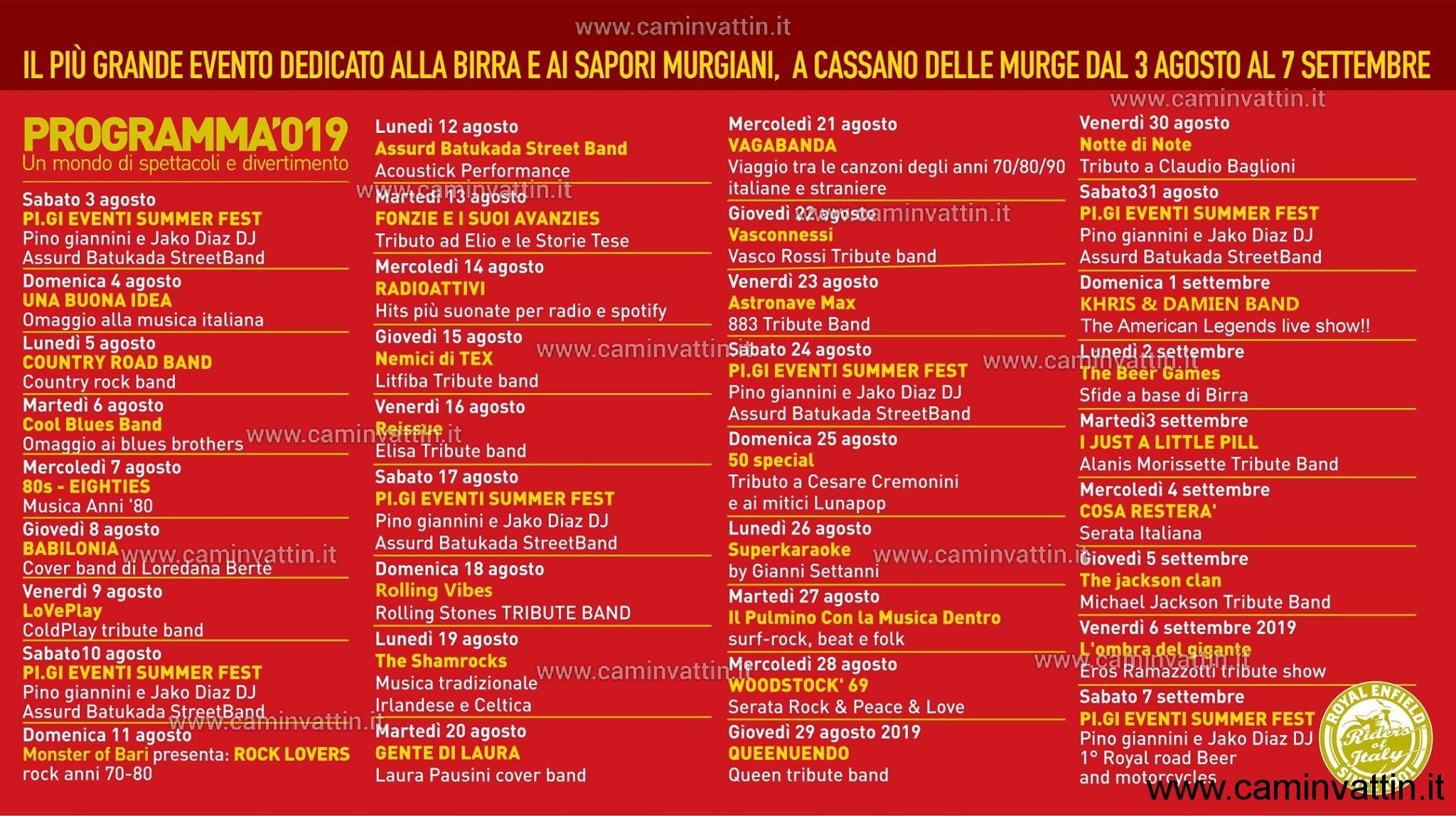 programma festa birra cassano 2019