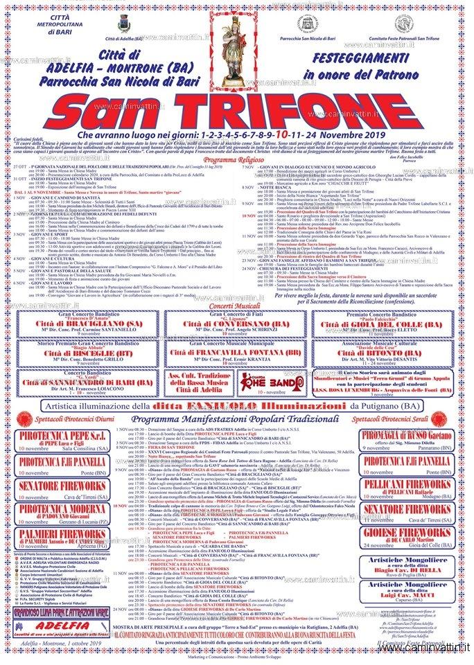 programma festa san trifone 2019 adelfia