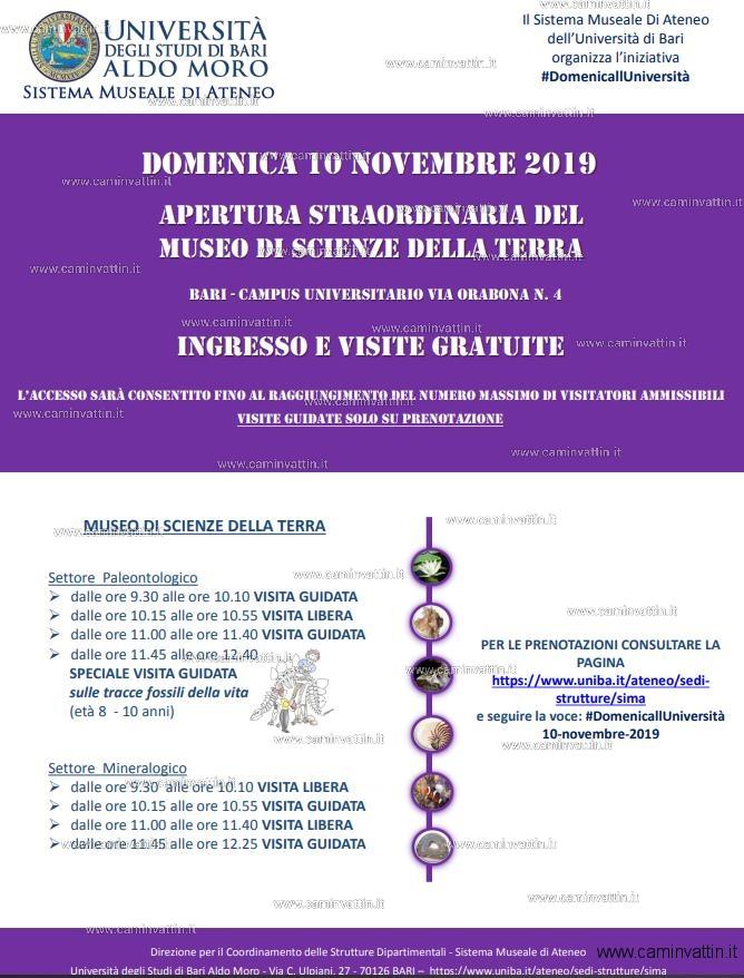 Apertura straordinaria del museo di Scienze della Terra campus universitario Bari