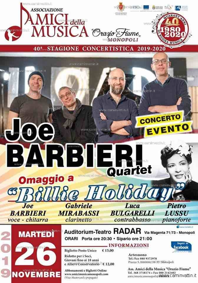 JOE BARBIERI QUARTET Omaggio a Billie Holiday