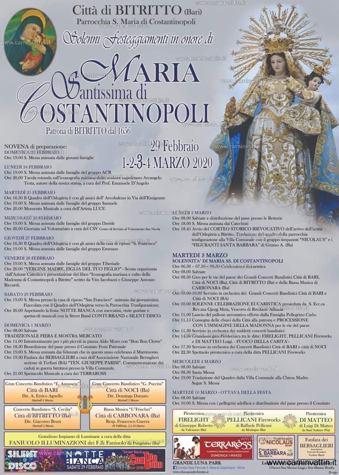festa patronale bitritto 2020 madonna di costantinopoli