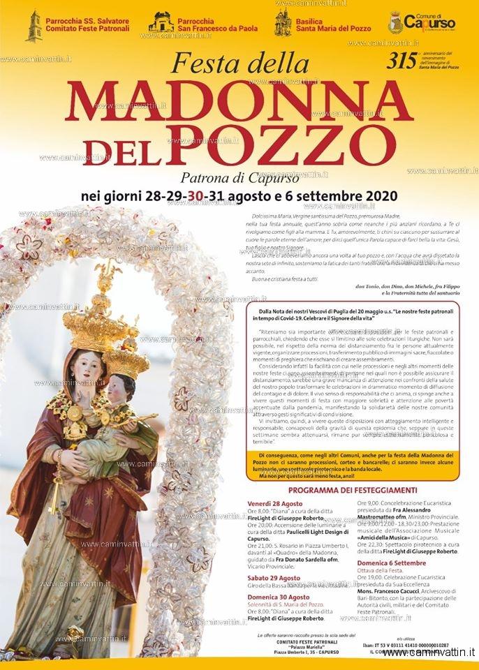 festa della madonna del pozzo di capurso 2020