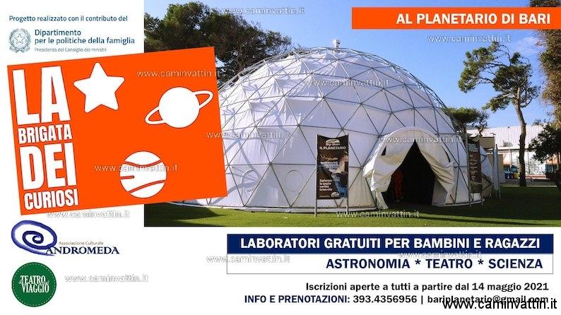 La Brigata dei Curiosi, laboratori gratuiti estivi di astronomia al Planetario di Bari