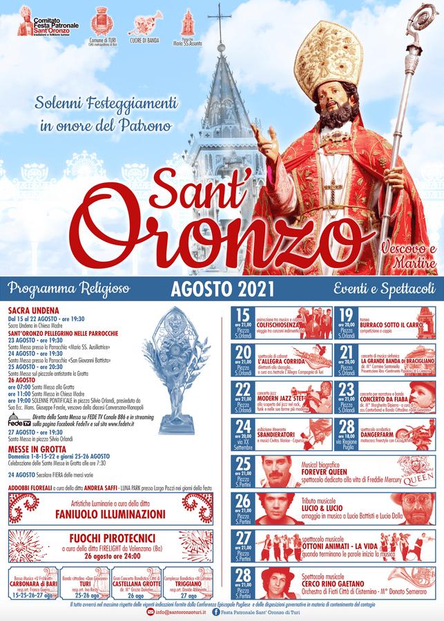 festa sant oronzo 2021 turi